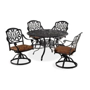 "Home Styles 48"" Cast Aluminium Dining Set with Swivel Chairs"