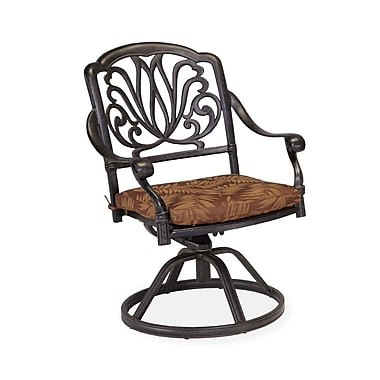 Home Styles Floral Blossom Swivel Cast Aluminum Chair with Cushion