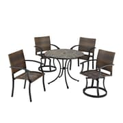 Home Styles 39.5 Metal Synthetic Tile Wicker Dining Set