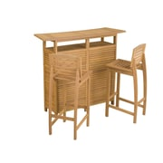Home Styles Shorea Wood Outdoor Bar Cabinet and Stools
