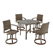 """Home Styles 41"""" Metal Synthetic Urban Outdoor 5 Piece Dining Set"""