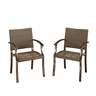 Home Styles Urban Outdoor Dining Metal & Wicker Chair Pair