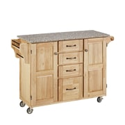 """Home Styles 48"""" Solid Wood Natural Asian Hardwood  Cabinet Kitchen Cart"""