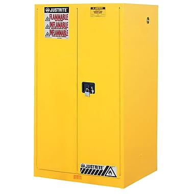 Justrite® Sure-Grip® Ex Flammable Safety Cabinet With 2 Self Close Doors, Yellow