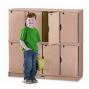 Jonti-Craft 4-Section Stacking Lockable Lockers; Double Stack