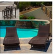Home Loft Concept Aaron 5-Piece Outdoor Adjustable Lounge and Wicker Nesting Table Set