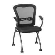 Office Star ProLine II Deluxe Folding Chair with ProGrid Back and Arms in Titanium (2-Pack)