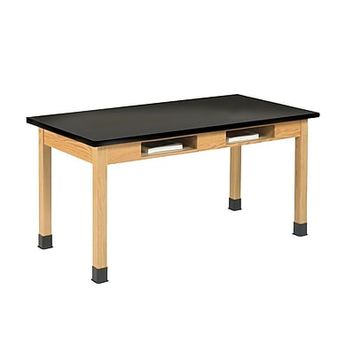 DWI Oak Table With Book Compartments 30