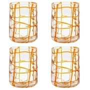 Impulse! Abstract Rock Old Fashioned Glass (Set of 4); Orange