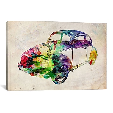 iCanvas 'VW Beetle (Urban)' by Michael Tompsett Graphic Art on Canvas; 18'' H x 26'' W x 0.75'' D