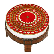 Divine Designs Embroidered Ottoman; Red