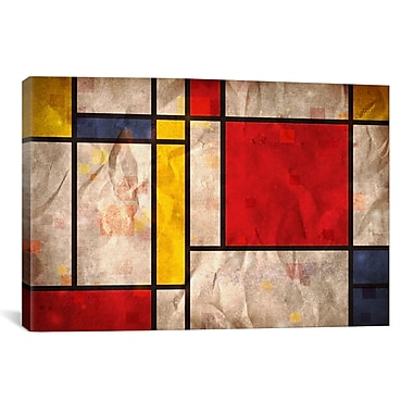 iCanvas 'Mondrian Inspired' by Michael Tompsett Graphic Art on Canvas; 8'' H x 12'' W x 0.75'' D