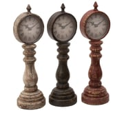 Woodland Imports Table Clock Assorted w/ Charm Look (Set of 3)