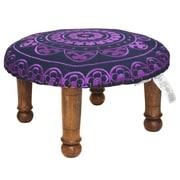 Divine Designs Embroidered Ottoman; Purple