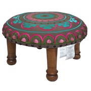 Divine Designs Embroidered Ottoman; Fuchsia and Teal