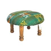 Divine Designs Kantha Stitched Ikat Ottoman