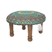 Divine Designs Embroidered Ottoman; Teal