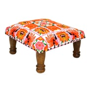 Divine Designs Embroidered Ottoman; Orange