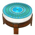 Divine Designs Embroidered Ottoman; Aqua