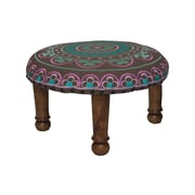 Divine Designs Embroidered Ottoman; Pink and Teal