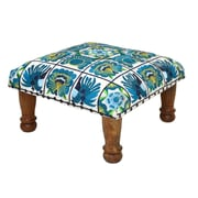 Divine Designs Embroidered Ottoman; Green and Blue