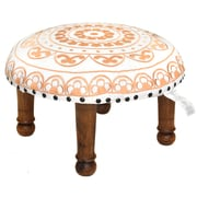 Divine Designs Embroidered Ottoman; White and Gold