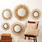 Twos Company 5 Piece Natural Rattan Wall Mirror Set