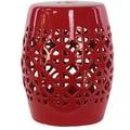Urban Trends Ceramic Garden Stool II; Red