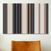 iCanvas Striped Charcoal Khaki Brown Graphic Art on Canvas; 8'' H x 12'' W x 0.75'' D