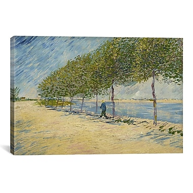 iCanvas 'Along the Seine' by Vincent van Gogh Painting Print on Canvas; 26'' H x 40'' W x 1.5'' D
