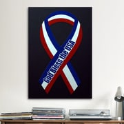 iCanvas Political God Bless The USA Ribbon Graphic Art on Canvas; 60'' H x 40'' W  x 1.5'' D