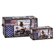 Household Essentials 2 Piece Motorcycle Design Trunk Set (Large & Small)
