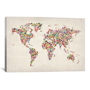 iCanvas ''Stars World Map'' by Michael Thompsett Graphic Art on Canvas; 12'' H x 18'' W x 1.5'' D