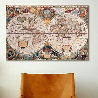 iCanvas 'Antique World Map' by Henricus Hondius Graphic Art on Canvas; 18'' H x 26'' W x 1.5'' D