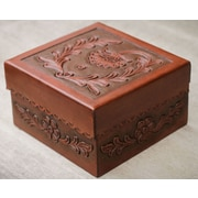 Novica The Abel Rios Leather and Mohena Wood Box