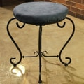 International Caravan Cambridge Round Iron Vanity Stool; Indigo