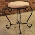 International Caravan Cambridge Round Iron Vanity Stool; Java