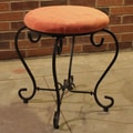 International Caravan Cambridge Round Iron Vanity Stool; Terra Cotta