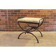 International Caravan Cambridge Contemporary Iron Vanity Stool; Sage