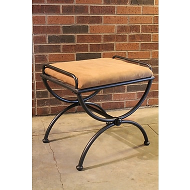 International Caravan Cambridge Contemporary Iron Vanity Stool; Saddle Brown