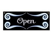 Enseigne Open /Close, 15 x 6 x 1/8 po, noir avec décorations bleues