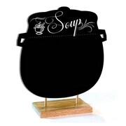 Enseigne « Daily Soup » avec support en bois naturel, 12 po x 12 po, noir, résistant aux taches, anglais seulement