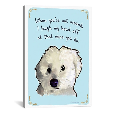 iCanvas Tiny Confessions Laughing Bichon by Christopher Rozzi Painting Print on Wrapped Canvas