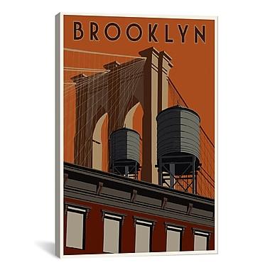 iCanvas Steve Thomas Brooklyn Travel Poster Canvas Print Wall Art; 40'' H x 26'' W x 0.75'' D