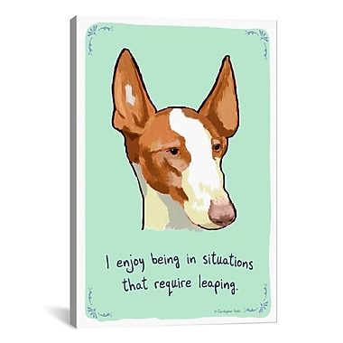 iCanvas Tiny Confessions Leaping Ibizan by Christopher Rozzi Painting Print on Wrapped Canvas