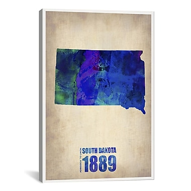 iCanvas South Dakota Watercolor Map by Naxart Graphic Art on Canvas; 40'' H x 26'' W x 0.75'' D