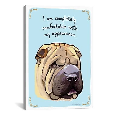 iCanvas Tiny Confessions Shar Pei Comfortable by Christopher Rozzi Painting Print on Wrapped Canvas