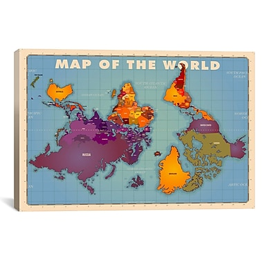 iCanvas Upside Down Map of the World Graphic Art on Wrapped Canvas; 12'' H x 18'' W x 0.75'' D