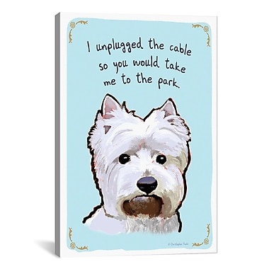 iCanvas Tiny Confessions Sneaky Westie by Christopher Rozzi Painting Print on Wrapped Canvas