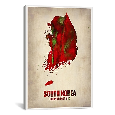 iCanvas South Korea Watercolor Map by Naxart Graphic Art on Canvas; 26'' H x 18'' W x 0.75'' D